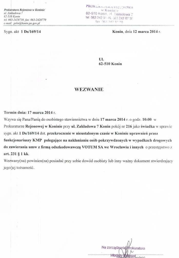 Wezwanie Prokuratura Rejonowa Konin