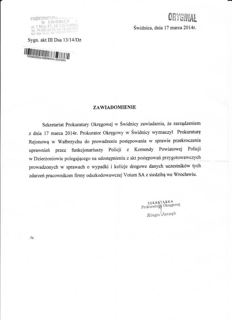 Zawiadomienie Prokuratura Okręgowa w Świdnicy